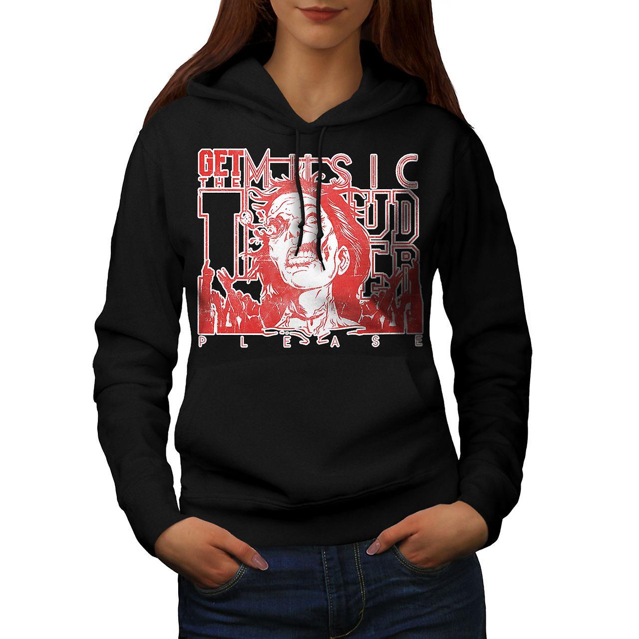 Loud Zombie Please Music Women Black Hoodie | Wellcoda