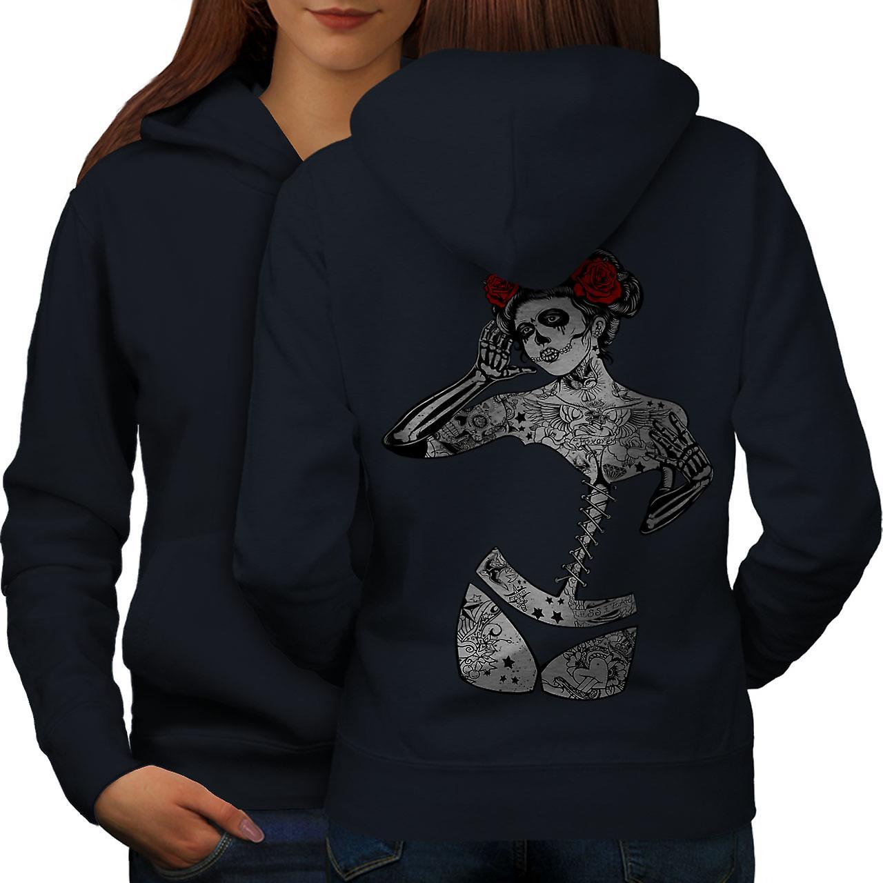 Girl Skull Fashion Women NavyHoodie Back | Wellcoda