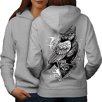 Triangle Owl Women GreyHoodie Back | Wellcoda