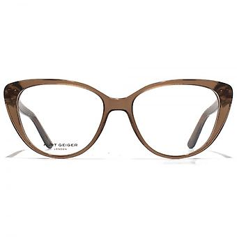 Kurt Geiger Libby Cateye Acetate Glasses In Crystal Brown