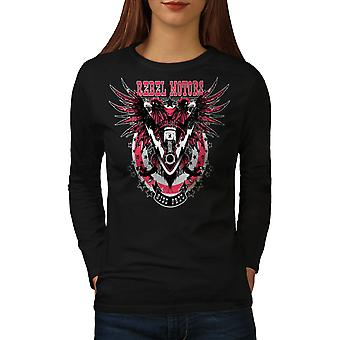 Rebel Motors Club Biker Women BlackLong Sleeve T-shirt | Wellcoda