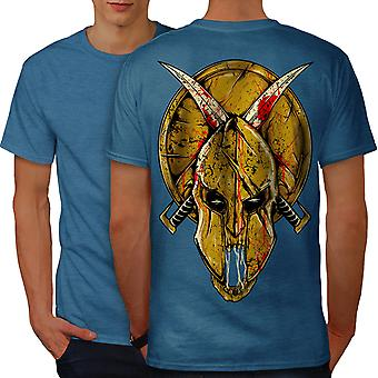 Gladiator Face Fantasy Men Royal BlueT-shirt Back | Wellcoda