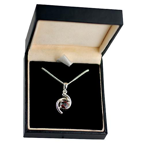 Silver 17x11mm Pendant set with 6mm round Garnet on a curb Chain 18 inches