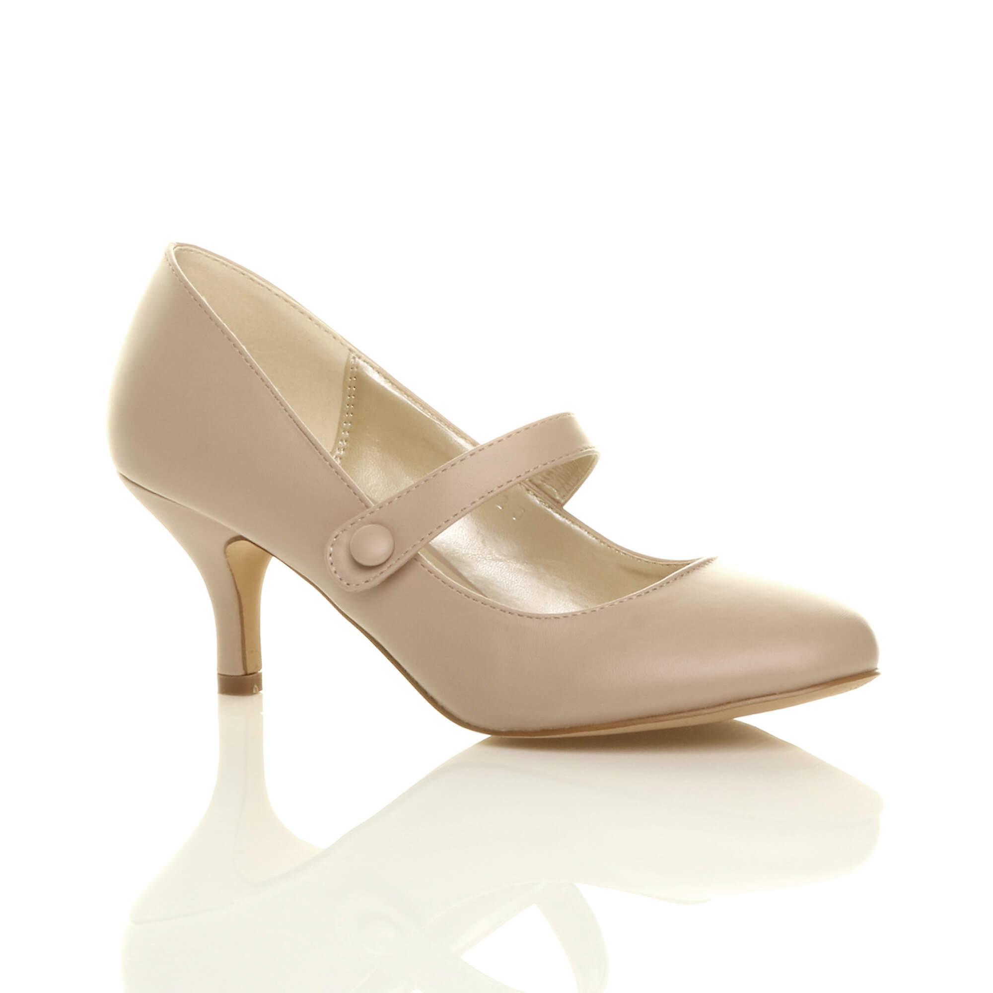 Ajvani womens low mid heel mary jane strap pumps-Huge work party court shoes pumps-Huge strap Cost-Men's/Women's f5e9cc