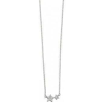 Beginnings Cubic Zirconia Double Star Necklace - Silver/Clear