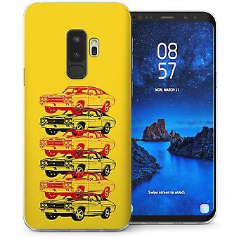 Samsung Galaxy S9 Plus Retro Amerikaanse sportwagen TPU Gel geval – geel
