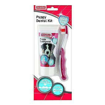 Beaphar Dog Puppy Dental Kit: Toothbrush and Toothpaste 50g