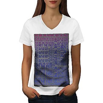 We Are Future Past Women WhiteV-Neck T-shirt   Wellcoda
