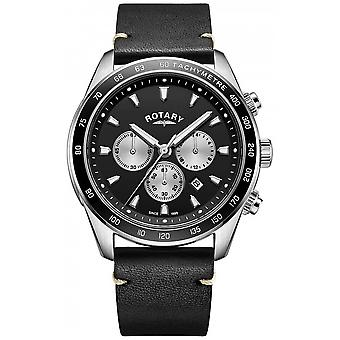 Rotary Mens Henley Black Chrono Dial Black Leather Strap GS05115/04 Watch