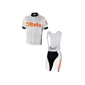 9543 W/S Beta Small Biking Jersey And Bib Shorts White Breathable Fabric