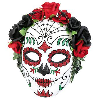Flower mask Mexican dead day half mask day of the dead of Muertos