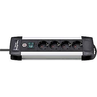 Brennenstuhl 1391000014 Socket strip (+ switch) 4 x Black, Aluminium PG connector