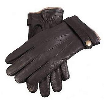 Dents Casual Deerskin Gloves with Strap - Black