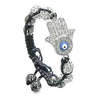 Evil Eye Protection Amulet Magic Eye Hamsa HBracelet with Black Cord Simulated Hematite Beads