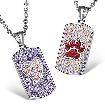 Heart Wolf Paw Austrian Crystal Love Couples Best Friends Dog Tag Purple White Cherry Red Necklaces