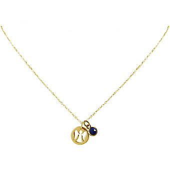 Ladies - necklace - pendants - Angels - guardian angel - 925 Silver - gold plated - sapphire - blue - 1.3 cm