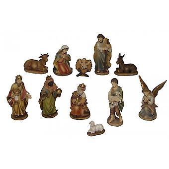 11-delige Nativity beeldjes. Instellen van polyresin Nativity scene cijfers Holy night 11 cm
