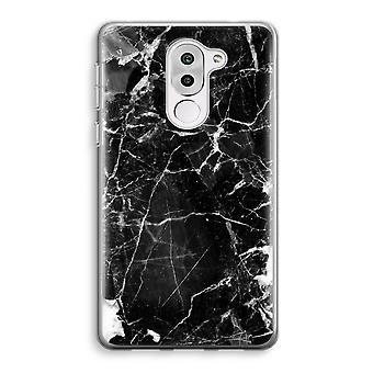 Honor 6X Transparent Case (Soft) - Black Marble 2