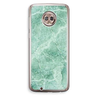 Motorola Moto G6 Transparent Case (Soft) - Green marble
