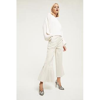 Cubic Wide Leg Trousers With Ruffle Detail