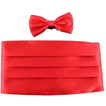 Knightsbridge Neckwear Bow Tie and Cummerbund Set - Red
