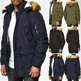 fa6b5412327e Mens Parka Winter Jacket Coat Lined Warming Coat Hooded Outdoor Warm