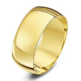 Star Wedding Rings 9ct Yellow Gold Light D Shape 8mm Wedding Ring