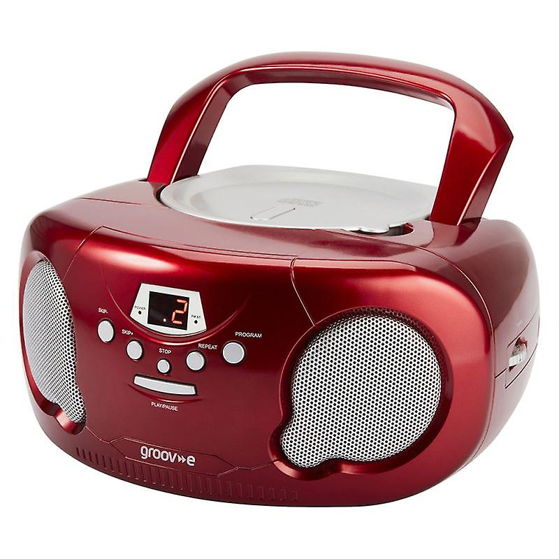 GVPS733RD Original Aux-In Boombox Portable CD Player with Radio - Red