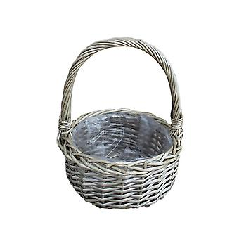 Small Round Plastic Lined Wicker Flower Basket