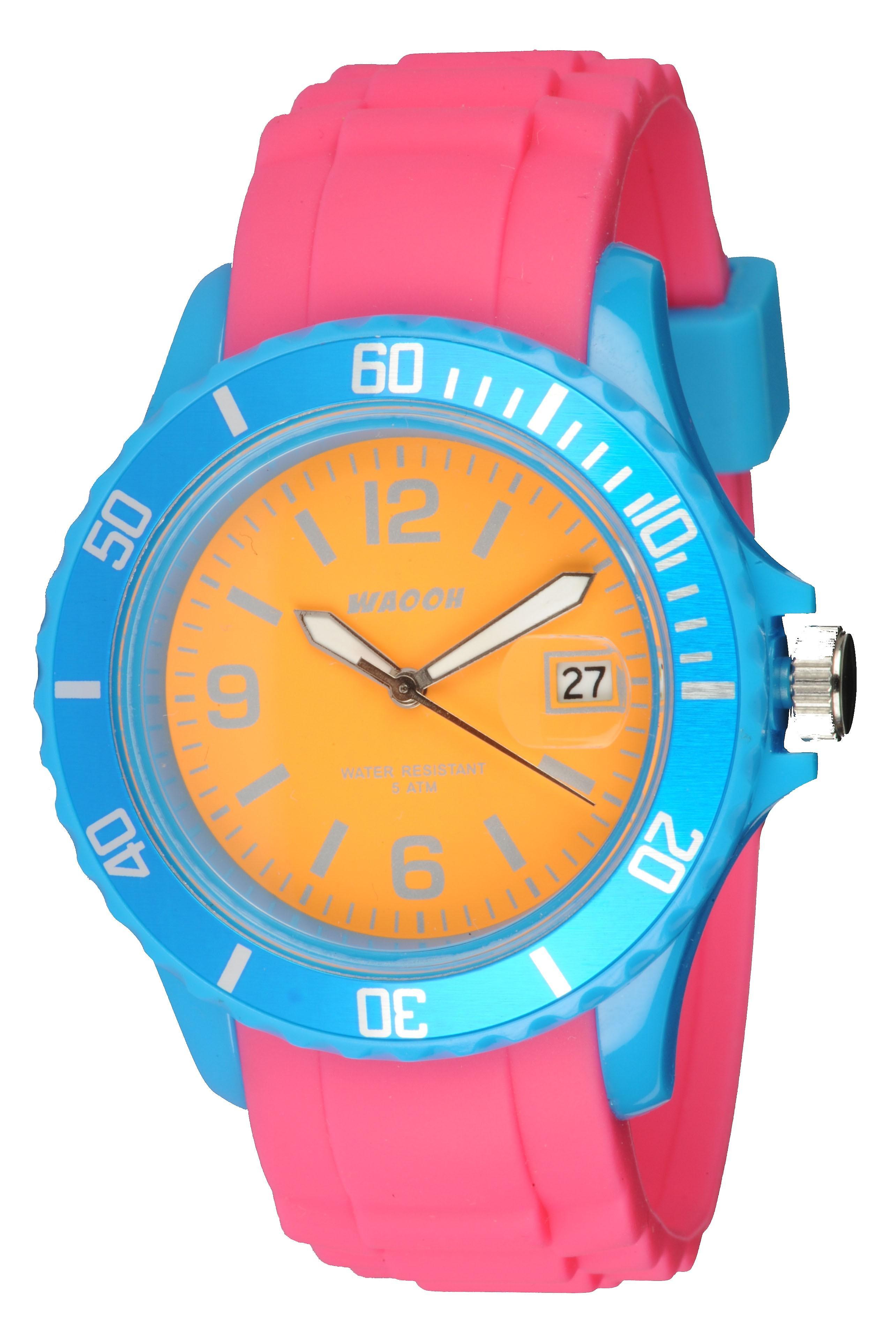 Waooh - Watch Monaco38 - Tricolore & turquoise