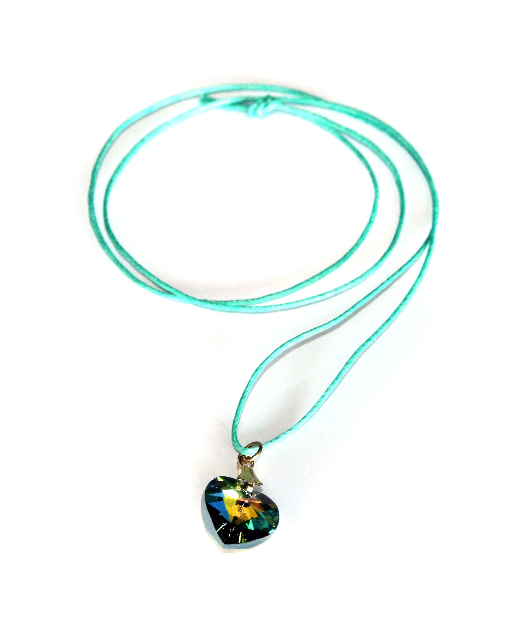 Waooh - Jewelry - Swarovski / Green Heart Pendant with waxed cord