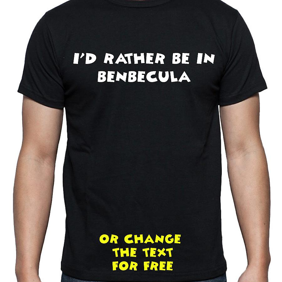 I'd Rather Be In Benbecula Black Hand Printed T shirt