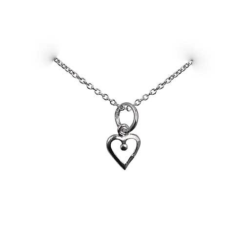 Silver 8x8mm heart symbol of charity Pendant with a rolo Chain 14 inches Only Suitable for Children