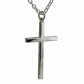 Silver 40x24mm plain solid block Cross with a cable Chain 18 inches