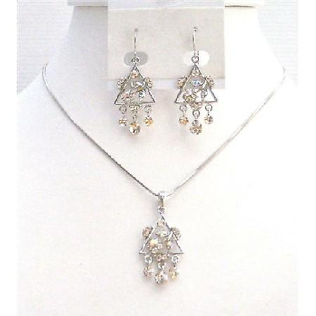 Sparkling Diamante Clear Crystals Jewelry Set Very Cute Triangle Pendant & Earrings Set with Dangling Clear Crystals Necklace Set