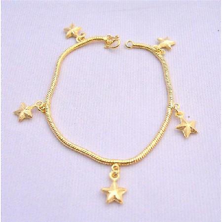 Star Dangling Bracelet Gold plated Bracelet w/ Star Dangling Bracelet