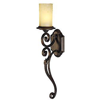Glasberg  -  Dark Brown Single Wall Light With Glass Shade  382021201