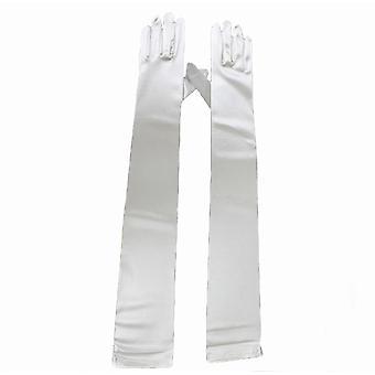 TRIXES Womens Long White Satin ellbogenlangen Handschuhe Kleid Abend Party Finger