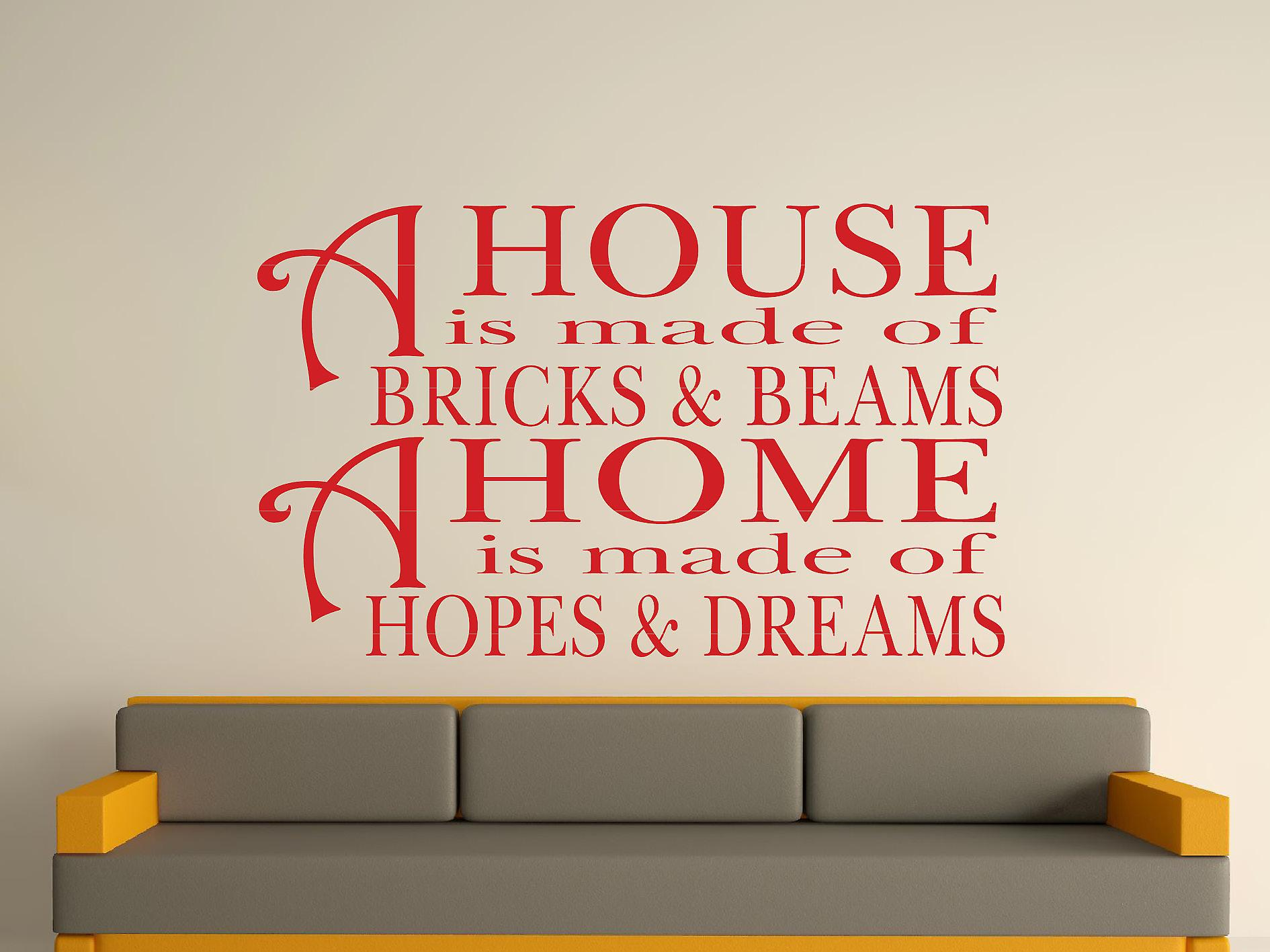 A House Is Made Of Bricks And Beams v2 Wall Art Sticker - Deep Red