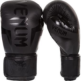 Venum Elite Skintex Leather Hook and Loop Training Boxing Gloves - Matte Black