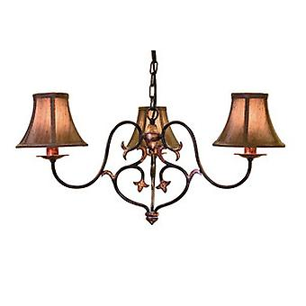 Traditional Forged Steel 3 Arm Chandelier