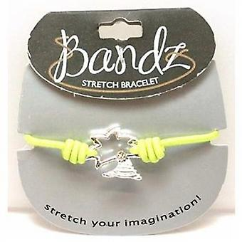 Toc Bandz Palm Tree Charm Lime Green Elasticated Bracelet 6