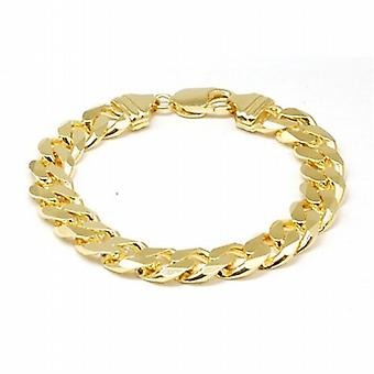 Jakob Strauss Gold Plate on Sterling Silver Gents Curb Bracelet