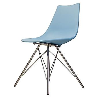 Chaise de salle à manger en plastique bleu iconique de fusion vivante avec des jambes en métal de chrome