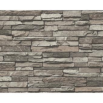 A.S. Creation AS Création Slate Brick Wall Pattern Faux Effect Embossed Vinyl Wallpaper 958331