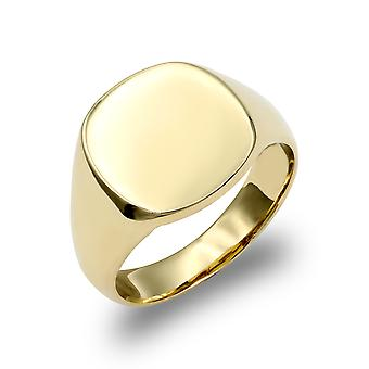 Jewelco London mäns solid 9ct Yellow Gold Square kudde Signet ring