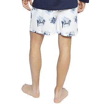 Cyberjammies 6402 Men's Harper White Mix Londres Impresión Algodón Pijama Corto