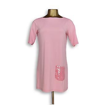 Joan Rivers Classics Collection Women's Top XXS Short Sleeve Pink A264800