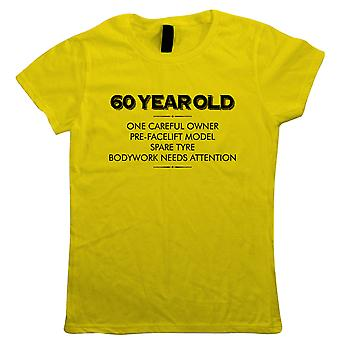 60 Year Old One Careful Owner Womens Funny T-Shirt | Humour Laughter Sarcasm Jokes Messing Comedy | Ideal Top Father Mother Day Wife Husband Mum Dad | Age Related Gift Her Mum
