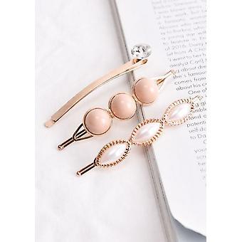 Perle und Diamante Detail Haarrutsche Set Rose Gold